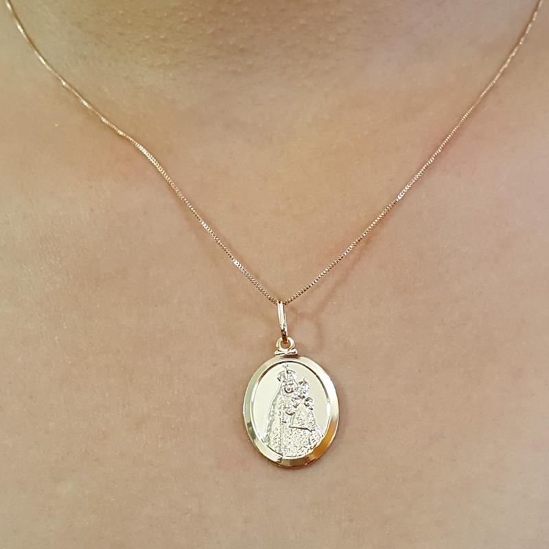 0447edfd3cc70 Colar Nossa Senhora da Penha folheado ouro 18k