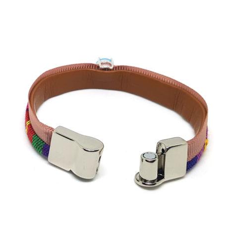 pulseira couro feminina colorida com fecho magnetico ima brilho folheados