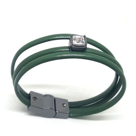 pulseira de couro feminino verde militar com pingente de cristal quadrado brilho folheados