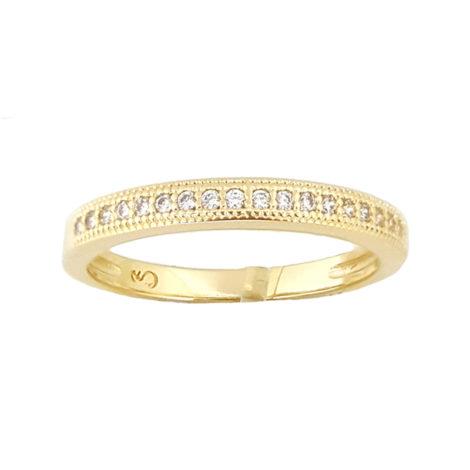 1910469 anel aparador de alianca meia fileira zirconia folheado ouro amarelo brilho folheados sabrina joias