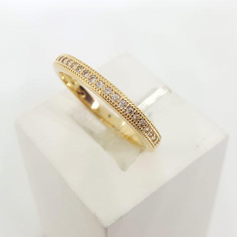 1910469 anel delicado meia fileira de zirconia branca joia folheada ouro brilho folheados sabrina joias