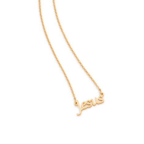 531843 colar feminino jesus folheado a ouro 18k rommanel brilho folheados