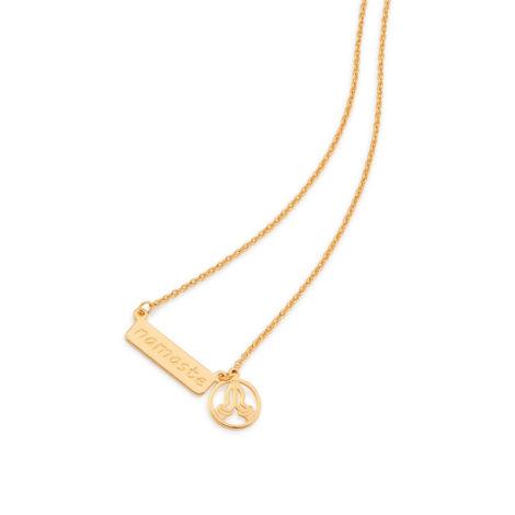 531844 gargantilha feminina fio cadeado com pingente de placa escrito namaste e simbolo das maos em saudacao rommanel brilho folheados