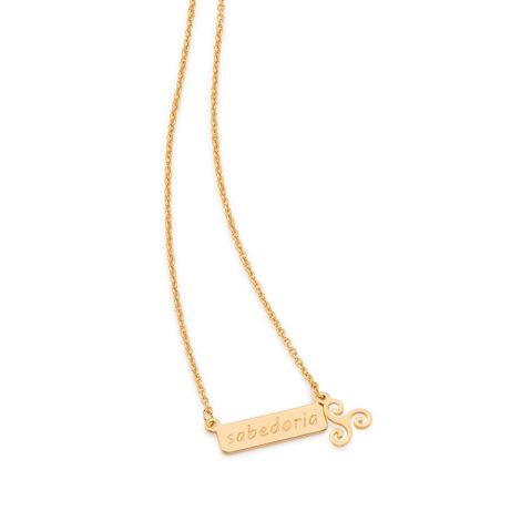 531845 colar gargantilha feminina com placa com o dizer sabedoria joia folheada ouro rommanel brilho folheados