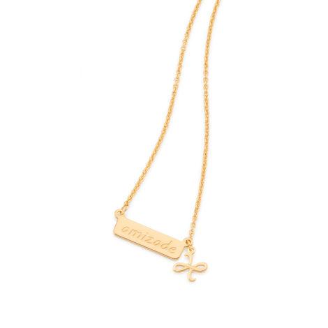531846 colar placa amizade pingente simbolo amizade pendurado joia folheada ouro 18k brilho folheados rommanel