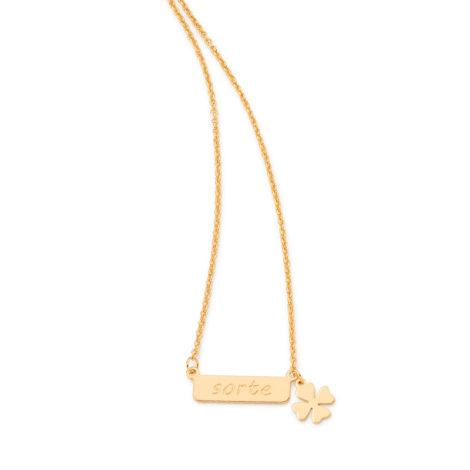 531847 colar feminino sorte com pingente trevo da sorte pendurado joia folheada ouro 18k brilho folheados rommanel