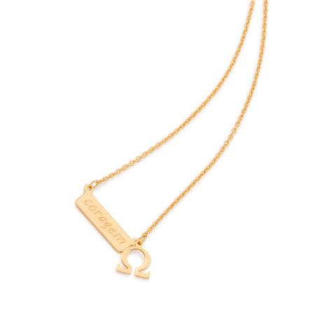531849 colar feminino coragem joia folheada a ouro 18k rommanel brilho folheados