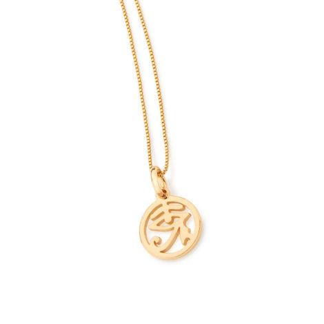 542054 colar com pingente olho de horus folheado a ouro 18k brilho folheados rommanel 1
