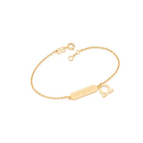 551515 pulseira feminina coragem joia folheada ouro 18k brilho folheados rommanel