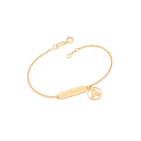 551520 pulseira feminina namaste saudacao ioga yoga joia folheada ouro brilho folheados
