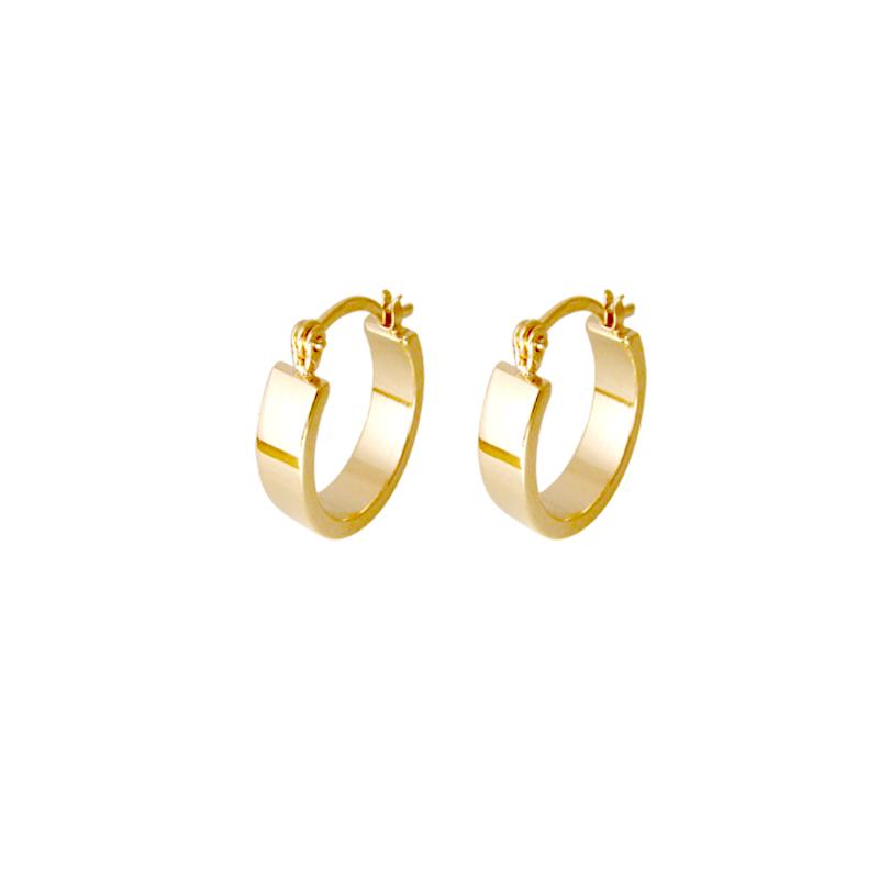 a51cee3119143 Brinco argola pequena oval Bruna Semijoias joia folheada a ouro 18k