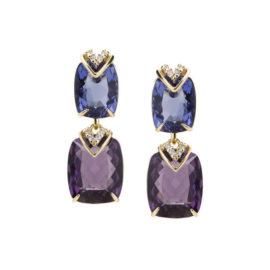 Brinco cristal retangular tons violeta joia folheada a ouro