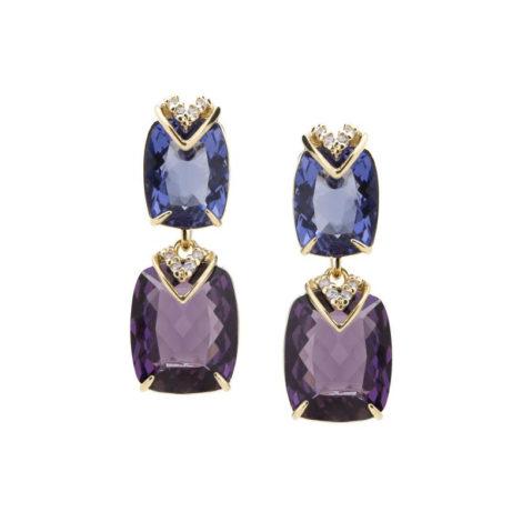 1689845 brinco cristal retangulo tons de violeta com detalhe v duplo cravejado com zirconia branca folheado ouro 18k brilho folheados sabrina joias