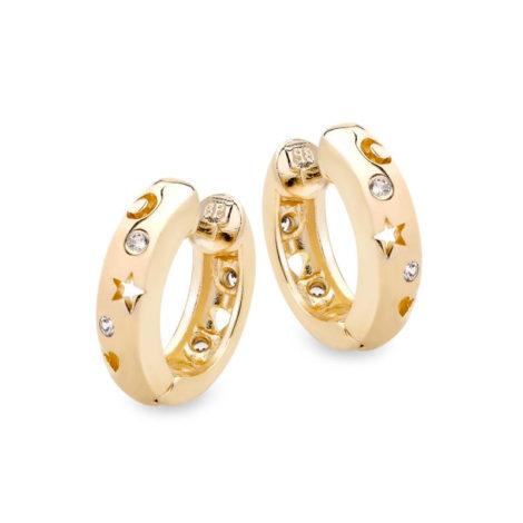 1690035 brinco argola bipartida pequena fecho clique com elementos sol lua coracao estrela pedra de zirconia joia folheada ouro 18k brilho folheados sabrina joias