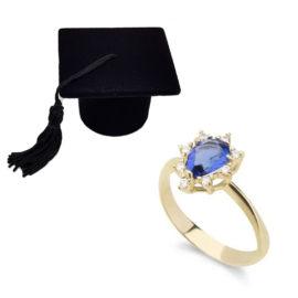 Anel de formatura cristal azul safira folheado ouro 18k