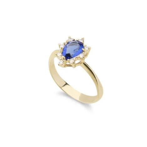 1910414 anel formatura pedra azul cristal gota com micro zirconia branca ao redor anel folheado ouro 18k antialergico brilho folheados