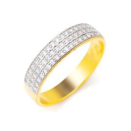 1910475 anel 3 fileira de zirconia branca brilhante anel espessura media tripla fileira de zirconia joia folheada ouro dourado 18k brilho folheados sabrina joias