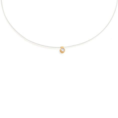 531837 gargantilha de nylon invisivel com ponto de luz cristal e acabamento dourado rommanel brilho folheados