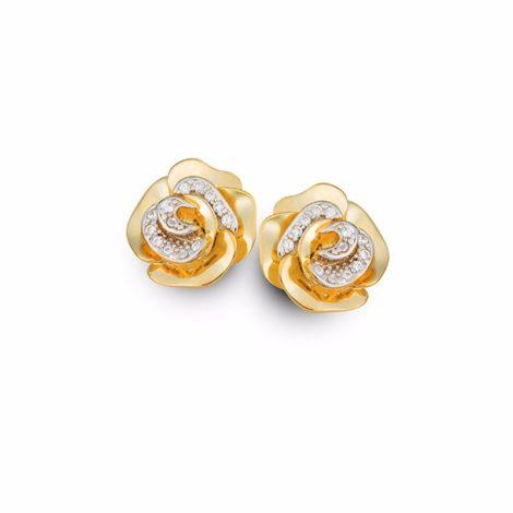 1695900 brinco flor petalas de rosa com zirconias folheado ouro 18k sabrina joias brilho folheados