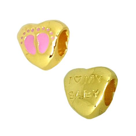 1800299 berloque coracao com pes bebe menina com mensagem no verso i love my baby joia antialergica folheada ouro sabrina joias brilho folheados