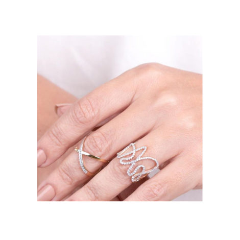 1910719 anel duplo x com zirconias e corrente folheado ouro brilho folheados sabrina joias
