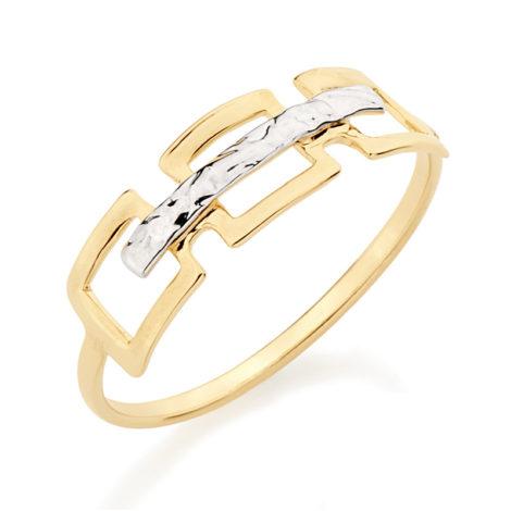 510002 anel aro fino com 3 quadrado vazado na parte superior com filete de ródio entre as pecas quadradas joia folheada rommanel brilho folheados