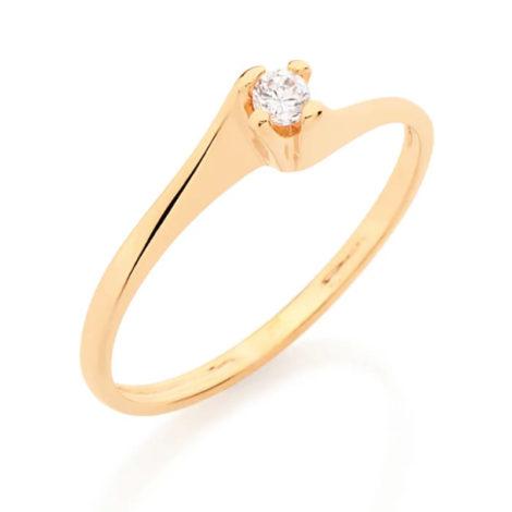 510516 anel solitario delicado folheado ouro 18k marca rommanel loja brilho folheados