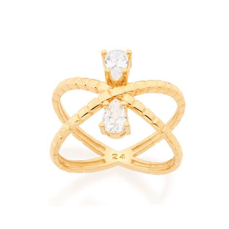 512557 anel x aro duplo com metal cortado com 2 gotas de zirconia folheado ouro 18k rommanel brilho folheados raquel colecao 2018