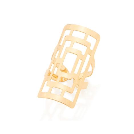 512571 maxi anel ajustavel retangular design vazado de um laribrinto joia folheada rommanel brilho folheados colecao 2018 raquel