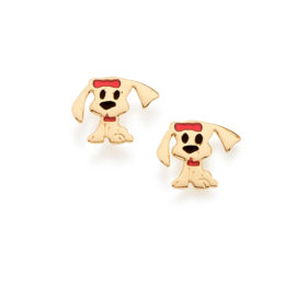 524942 brinco infantil no formato de cachorro colorido com resina vermelha e preta joia folheada ouro amarelo 18k rommanel brilho folheados