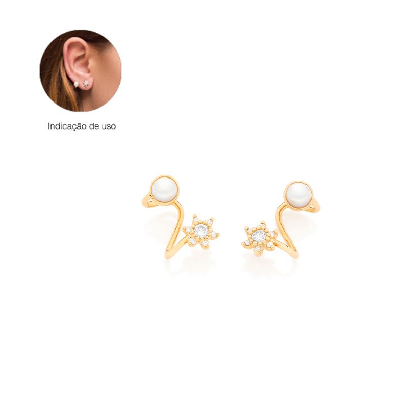 Brinco ear cuff ondulado com flor de zircônia e pérola f1852d2e58