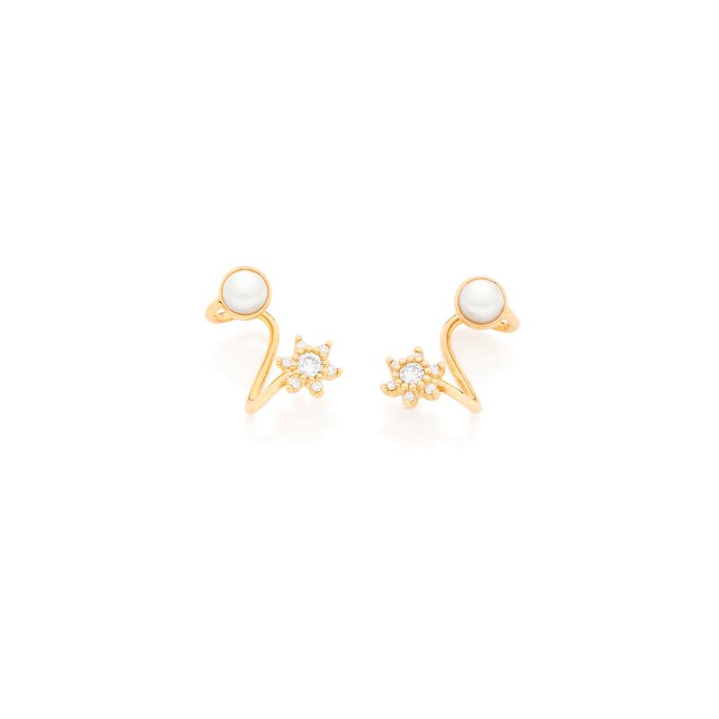 02cea4a32c1f1 Brinco ear cuff ondulado com flor de zircônia e pérola