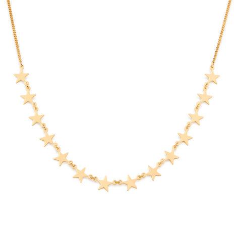 531828 Gargantilha formada por fio grumet composta por 14 peças no formato de estrelas lisas medida 42cm ajustável a 40 e 38cm joia rommanel