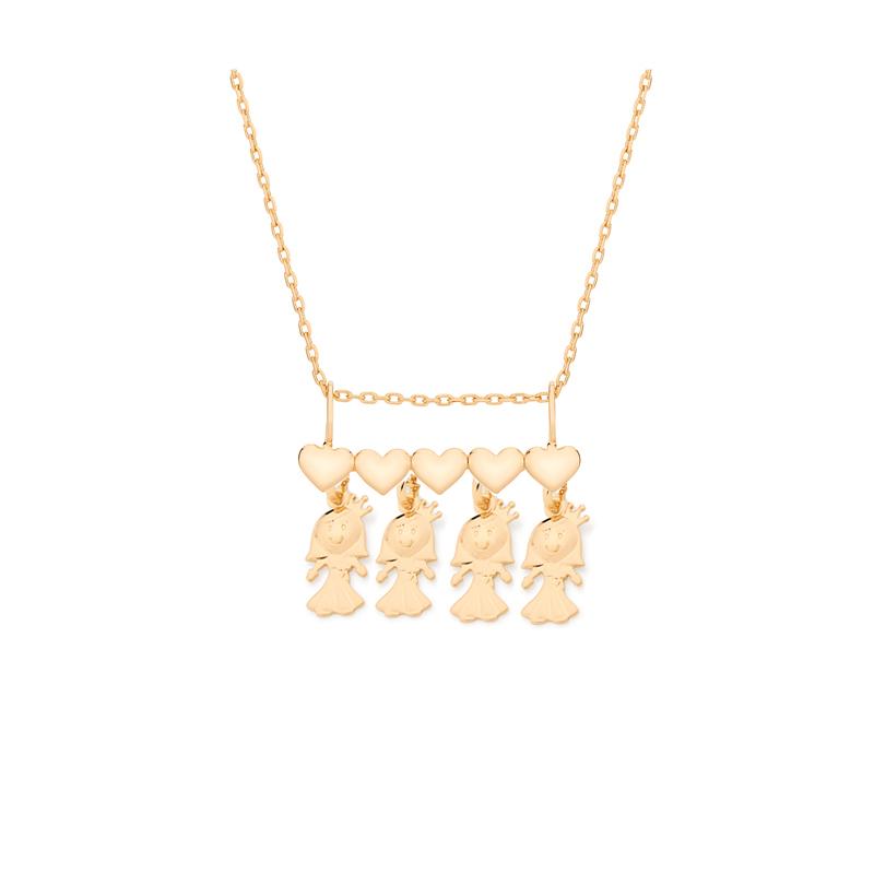 Colar canga coração com 4 filhas menina joia folheada a ouro 18k 011b8b73ed