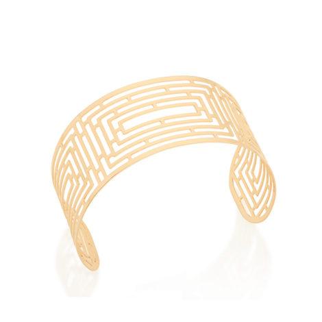 551530 bracelete largo com desenho de labrinto vazado joia folheada ouro 18k brilho folheados rommanel colecao raquel 2018