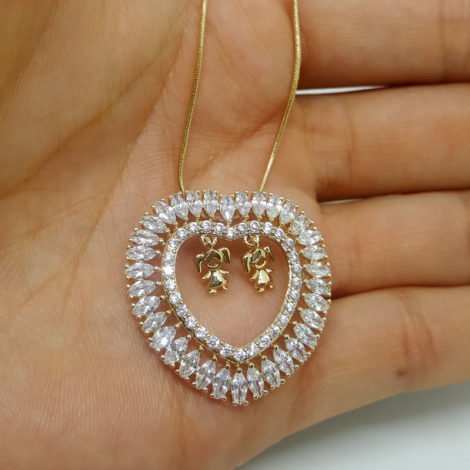 colar feminino 2 filhas dentro de coracao joia folheada ouro brilho folheados 18k