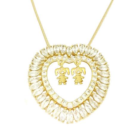 colar feminino com coracao de zirconia contendo 2 meninas filhas pendurado colar dia das maes joia folheada brilho folheados