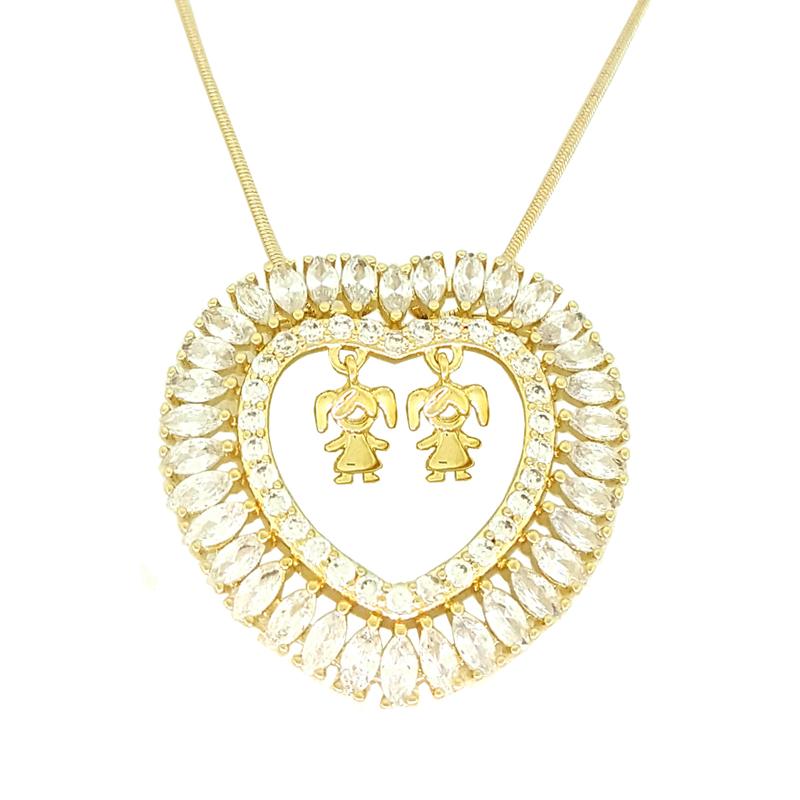 Colar coração de mãe 2 filhas menina joia folheada a ouro 18k 376f2292f4