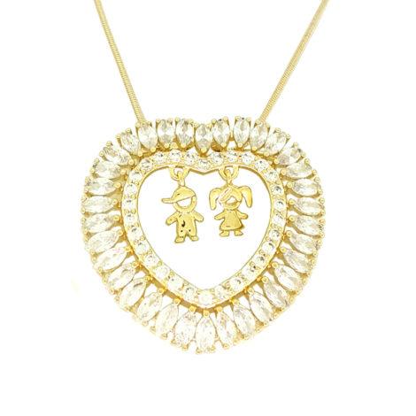 colar feminino com corrente fio rabo de rato pingente coracao com 2 pingentes de 1 menino e 1 menina casal de filho joia folheada ouro brilho folheados