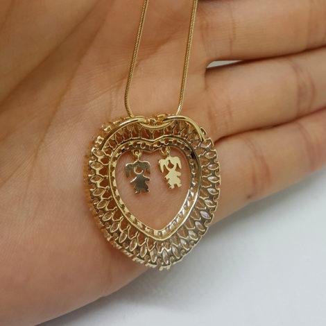 foto verso colar feminino coracao com pingente de 2filhas menina folheado ouro brilho folheados