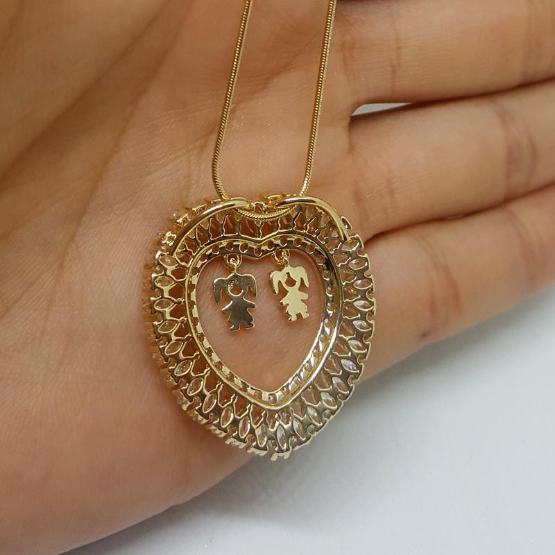 9e76b2fab78ec Colar coração de mãe 2 filhas menina joia folheada a ouro 18k