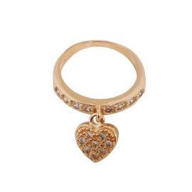 1656700 rose anel pingente coração cravejado com zirconias folheado ouro rose brilho folheados sabrina joias