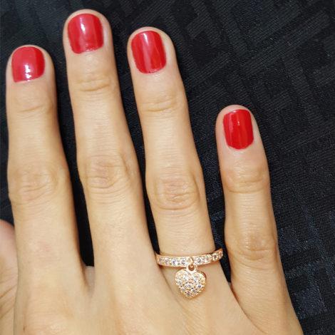 1656700 rose anel pingente coração cravejado com zirconias folheado ouro rose brilho folheados sabrina joias foto modelo 1