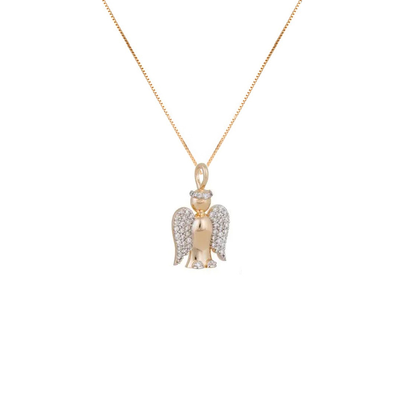df1e534dbd1e0 Colar pingente anjo com zircônias joia folheada a ouro dourado 18k