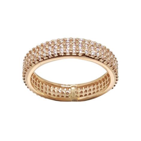 1910402 rose anel 3 fileiras completas de zircornias imitando diamante folheado ouro rose brilho folheados sabrina joias