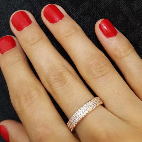 1910402 rose anel 3 fileiras completas de zircornias imitando diamante folheado ouro rose brilho folheados sabrina joias foto modelo 1