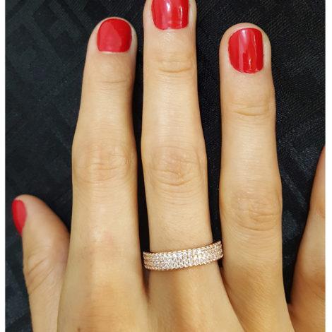 1910402 rose anel 3 fileiras completas de zircornias imitando diamante folheado ouro rose brilho folheados sabrina joias foto modelo 2