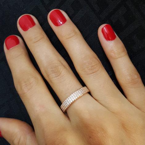 1910402 rose anel 3 fileiras completas de zircornias imitando diamante folheado ouro rose brilho folheados sabrina joias foto modelo 3