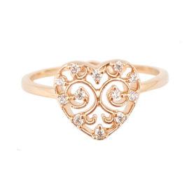 1910622 anel coracao rendando com zirconias folheado ouro rose sabrina joias brilho folheados