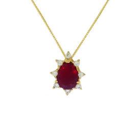 Colar cristal vermelho rubi 45 cm folheado ouro